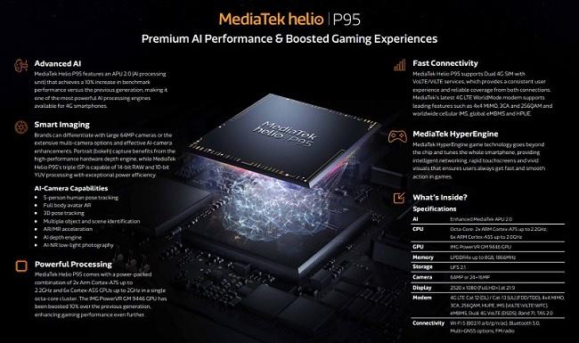 OPPO A93 sở hữu con chip MediaTek Helio P95 8 nhân mạnh mẽ